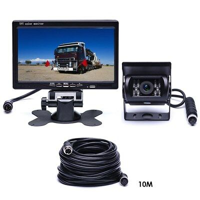 "4Pin Rear View Backup Camera Night Vision System + 7"" Monitor For RV Truck Bus"