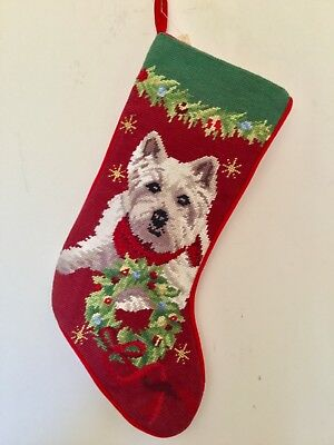 Westie ( pose 1) needlepoint stocking- not a kit