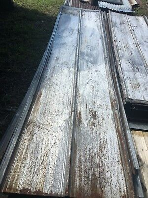 Antique Standing Seam Tin Roof Panel 26 x 114 Metal Restaurant Decor Vtg 107-18J
