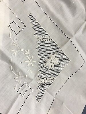 "Vintage Salvaged Embroidery Hardanger Style 21""1/2 X 20 Pure White Cotton"
