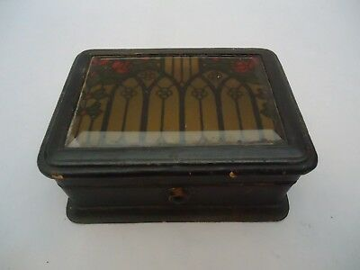UNUSUAL ANTIQUE JEWELRY CASKET BOX BEVEL GLASS Leather Wood 5x3.75x2.25 AS IS