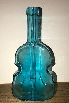 Antique Aqua Blue Pontil Scar Glass Violin Bottle