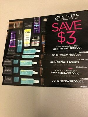 5 $3 off any John Frieda product (hair care) coupons (total savings Of $15)