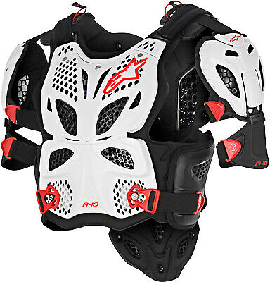Alpinestars 6700517-213-M/L A-10 Full Chest Protector MD/LG White/Black/Red