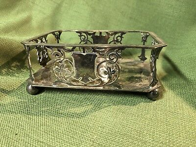 Antique Vinrage Silverplated Card Holder Vanity Box Jewelry