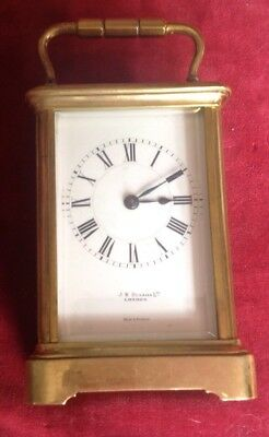 Vintage Solid Brass Carriage Clock J W Benson For Spares Or Repair