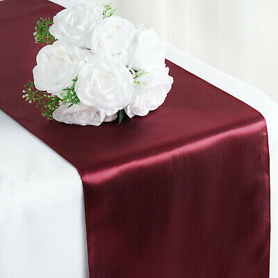 """Burgundy SATIN 12x108"""" Table RUNNER Wedding Party Catering Decorations SALE"""