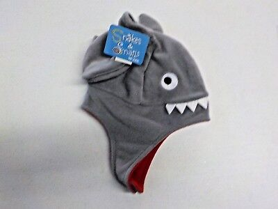 Toddler Boys ABG Gray/Red Shark Hat & Mittens Cold Weather Set Nwt #10764