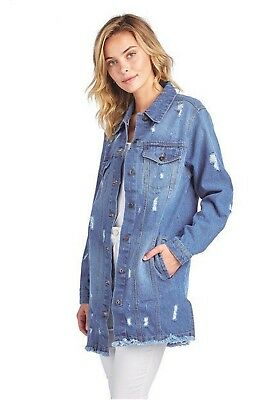 Women`s Washed Distressed Relaxed Loose Jean Denim Jacket Long Coat
