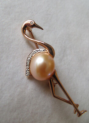 14Ct Rose Gold Diamond Pink Pearl Flamingo Design Brooch