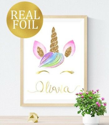 REAL FOIL Personalised Name Eyelash Unicorn Print Girls Nursery Wall Art Picture