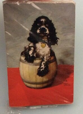 Vintage STARDUST Plastic Coated  Spaniel Dog PINOCHLE Playing Cards  NOS