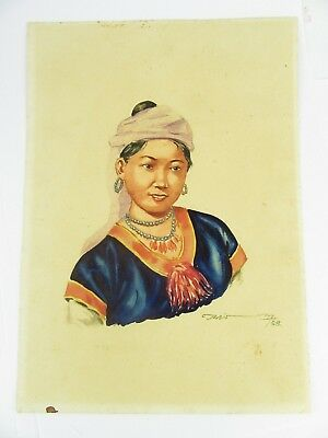1958 Burmese Watercolour Of A Traditional Girl By Thein Han One Of Twenty Listed