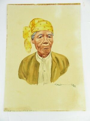 1958 Burmese Watercolour Of A Burmese Old Man By Thein Han, One Of Twenty Listed