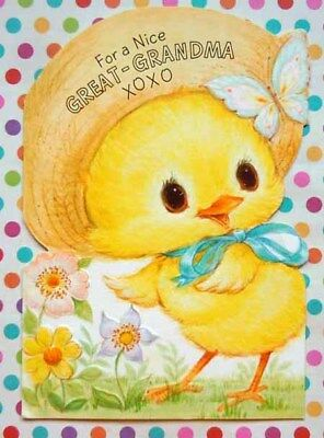 Vintage Yellow Chick in Straw Hat with Butterfly Greeting Card