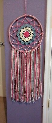 Dream Catcher Pink Blue White Boho Pagan Native American Woven Wall Decor