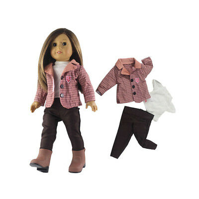 3pcs Cute Clothes Coat and Pants Set Accessory for 18inch American Girl Doll