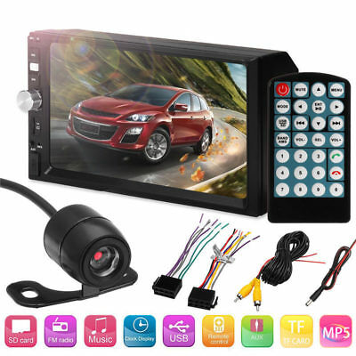 7 Inch 2DIN Car Bluetooth MP5 Player Touch Screen Stereo Radio + HD Round Camera