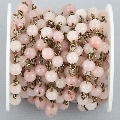 1 yard BLUSH PINK Agate Gemstone Rosary Chain, BRONZE 6mm round fch1010a