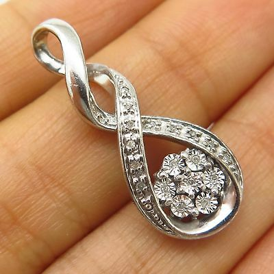 925 Sterling Silver Real Diamond Twisted Infinity Design Slide Pendant