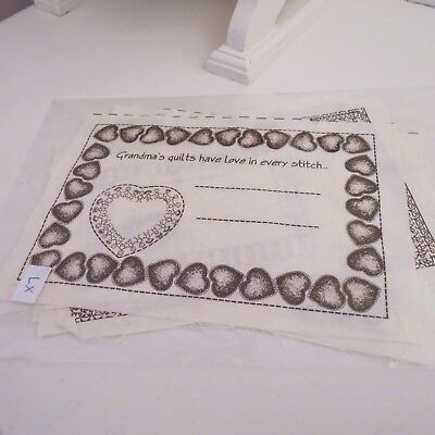 Quilting or  hand crafts printed calico labels x 7 #1
