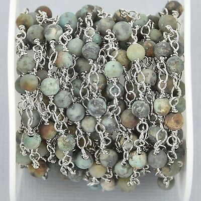 1 yard Matte Green AFRICAN TURQUOISE Rosary Chain silver 4mm round fch1009a