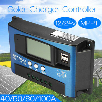 60/100A 12-24V Solar Panel Regulator Charge Controller MPPT Solar Control LCD