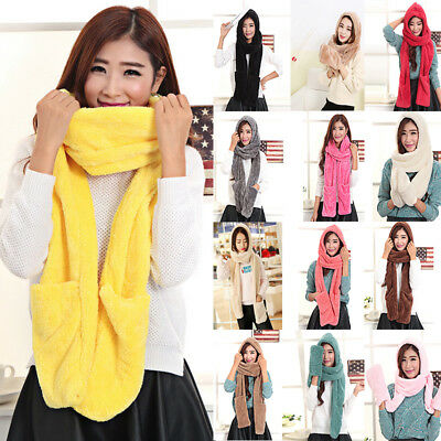 US Fashion Outdoor Women 3in1 Winter Warm Plush Soft Hat Hooded Scarf Gloves Set