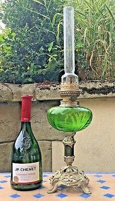 Oil Lamp Pewter Style & Coloured Green Glass  French Paraffin Burner