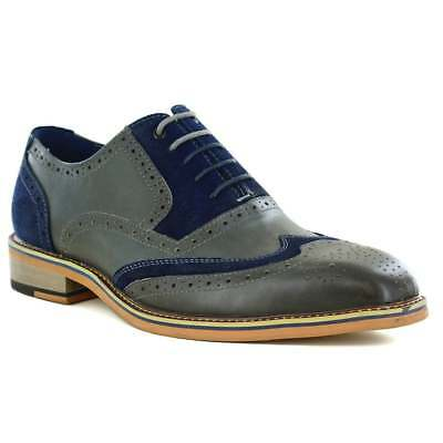 JUSTIN REECE Fred Mens Leather and Suede Full Brogue Shoes - Grey and Navy