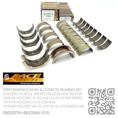 030 Main bearing set fits Holden 308 Red Commodore VB Hg HG Kings ACL Duraglide