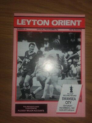 Leyton Orient V Swansea City 5Th December 1987 Fa Cup Round Two