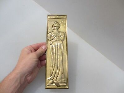 Vintage Brass Finger Plate Push Door Handle Lady Nouveau Old Classical