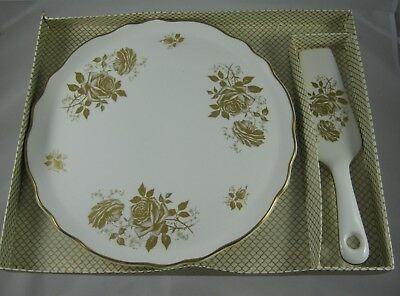 James Kent - Old Foley Gold Roses - Gateau / Cake plate and server - Boxed
