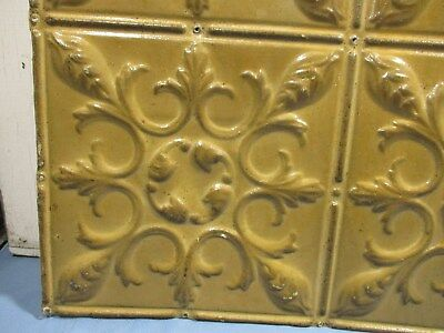 Fabulous Ornate Tin Ceiling, 3' x 2' w/ Mustard Color, Awesome RePurp Piece