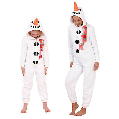 Loungeable Adults Kids 3D Snowman All In One Soft Fleece Xmas Festive Jumpsuit