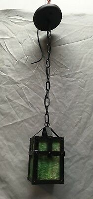 Antique Pendant Art Crafts Mission Light Fixture Green Slag Glass Old 438-18E