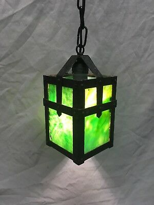 Antique Pendant Art Crafts Mission Light Fixture Green Slag Glass Old 440-18E