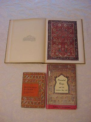 Lot Of 3 Antique Books About Oriental Rugs!~How To Identify~Colour Plates & More