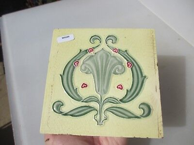 Antique Ceramic Tile Vintage Floral Flower Art Nouveau Flowers Floral Old Green