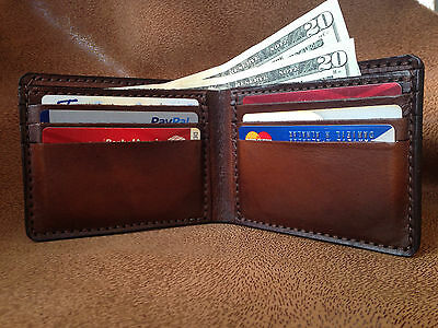 High Quality Hand Made Genuine Leather Men Wallet New Dark Brown hand dying