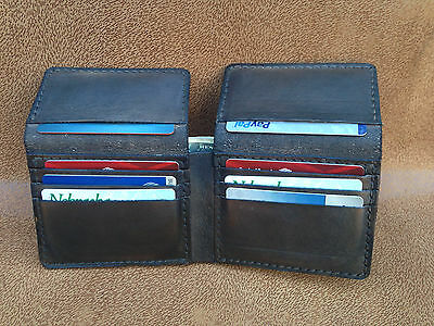 High quality hand made genuine leather trifold wallet 10 cards slots