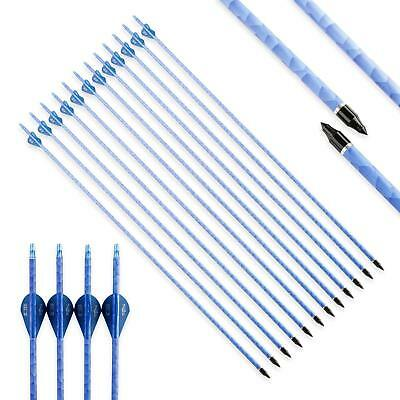 12 x30'' Pure Carbon Arrows With 2'' Blue Blazer Vanes Spine 340 For Archery Bow