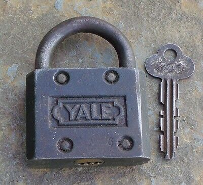 Antique Cast Iron and Steel Yale & Towne Padlock &  Key