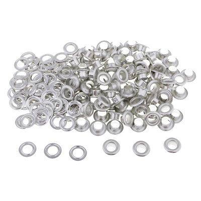 100 x Silver/Black Metal Eyelets with Washers for DIY Grommets Leather Craft