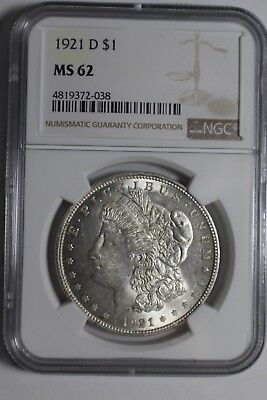 1921-D Morgan Silver Dollar NGC MS 62 #038