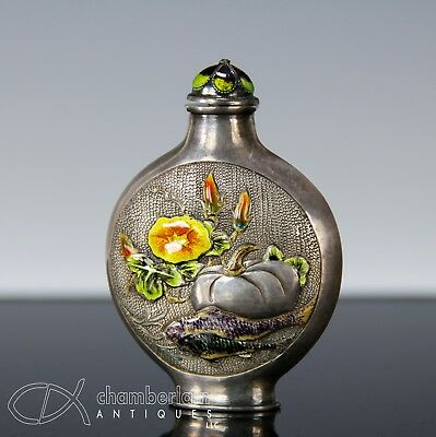 Unusual Old Chinese Enameled Silver Snuff Bottle With Mark