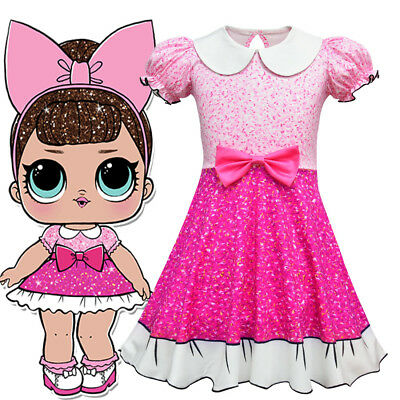 Girls Kids L.O.L Lol Surprise Doll Short Sleeve Summer Party Dress Costume