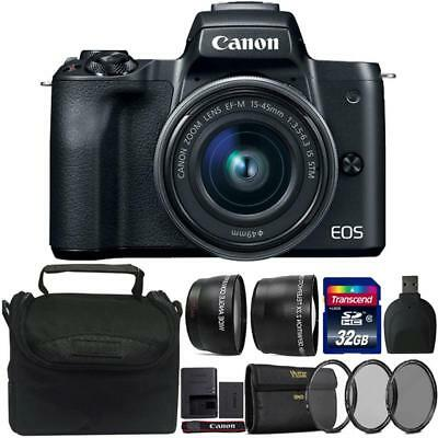 Canon EOS M50 Mirrorless Digital Camera + 15-45mm Lens Black 32GB Accessory Kit