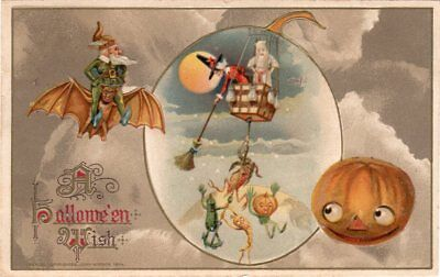A Halloween Wish Postcard Winsch Series 450/21 #3940 - Copyright 1914